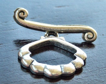 Pewter Shell 18mm Toggle Clasp :  2 Sets