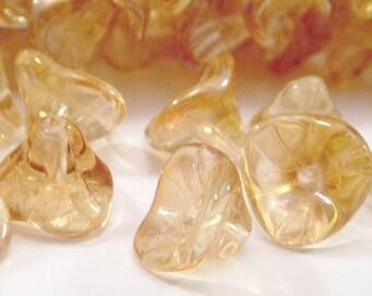 Jonquil Celsian Czech Glass Bead Three Petal Flower : 12 pc Yellow Flower
