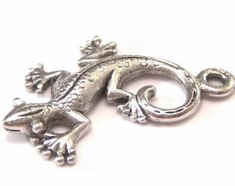 Pewter Little Lizard Charm : 2 pc