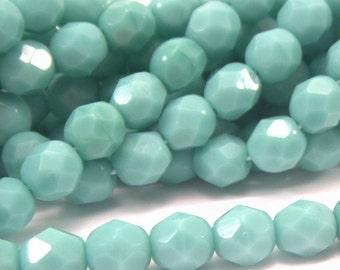 Czech Bead Turquoise 6mm Faceted Rounds : 25 pc 6mm Green Czech Glass Beads