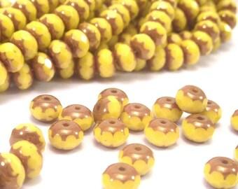 Czech Glass Bead Gemstone Cut 7x5mm Yellow Copper Donut : 25 pc