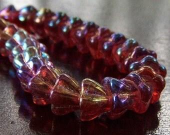 Cranberry Czech Bead 8x6mm Glass Bell Flower - 20