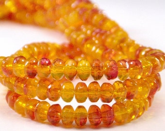 Cranberry Citrine Czech Glass Bead 2x3mm Gemstone Cut Donut : 50 pc