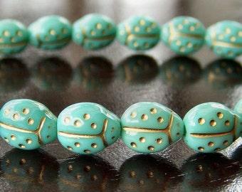 Czech Glass Bead 9x7mm Turquoise Ladybug : 25 pc Green Bug Bead