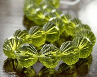 Czech Glass Olivine 9mm Fluted Bead : 12 pc