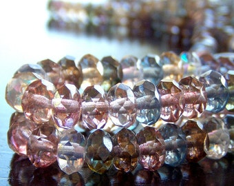 Czech Glass Multicolor Bead 7x5mm Faceted Gemstone Donut - 25