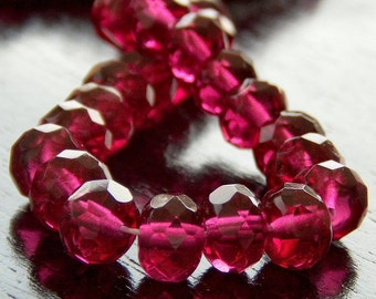 Czech Glass Bead Fuchsia 7x5mm Faceted Gemstone Donut : 25 pc Fuschia Rondelle