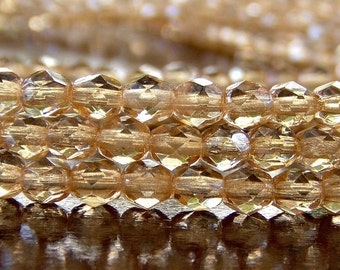 Champagne Luster Czech Glass Bead 4mm Faceted Round : 50 pc 4mm Champagne Round