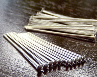 22g Silver Plated 1 Inch Headpin - 100 pc