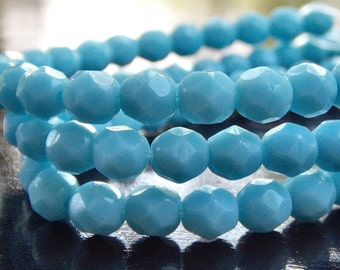 Turquoise Blue Czech Glass Bead 6mm Firepolish  Round  - Full 7 inch Strand 30 pc