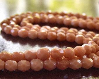 Milky Caramel  Czech Bead 4mm Round : 50 Czech Glass Beads