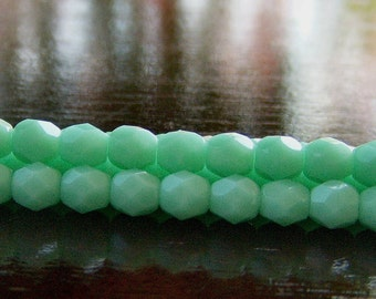Turquoise Green Czech Glass Bead 4mm Faceted Round - 50 pc Strand