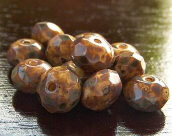 Beige Picasso Czech Glass Bead 9x6mm Gemstone Cut Donut : 12 pc