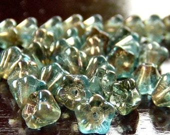 Aquamarine Celsian Czech Glass Bead 4x6mm Baby Bell Flower : 30 pc