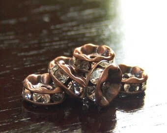 6mm Czech Rhinestone Crystal Antique Copper Rondelle : LAST 4 pc Rhinestone Spacer