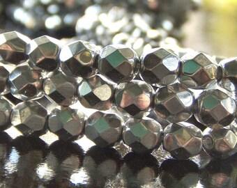 Czech Glass Bead Metallic Silver 6mm FP Round : 25