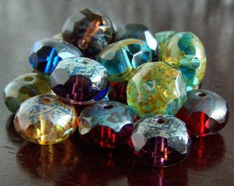 Picasso Mix Czech Glass Bead 9x6mm Faceted Rondelle : 12 pc Gemstone Donut