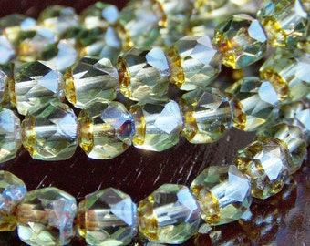 Peridot Picasso Czech Glass Bead 6mm Renaissance : 25 pc Green Faceted 6mm Round