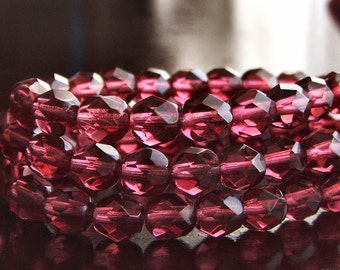 Fuchsia Pink Czech Glass Bead 6mm Faceted Round - 25 pc