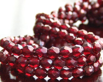 Siam Ruby Vega Czech Glass Bead 4mm Round - 50