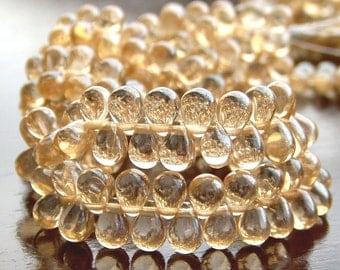Champagne Luster Czech Glass Teardrop Bead 4x6mm : 50 pc