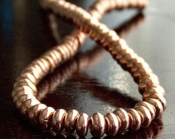 Copper Penny Czech Glass Bead 4mm Rondell Spacer : 100 pc Bright Copper 4mm Bead