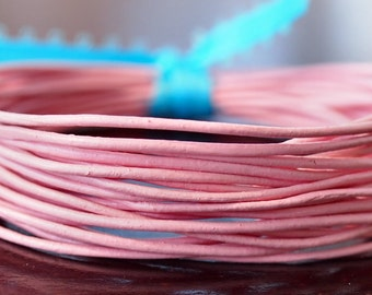 1mm Round Leather Cord Pink : 15 Feet Genuine Leather Cord