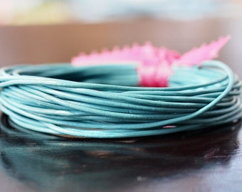 1mm Round Leather Cord Turquoise : 15 Feet Genuine Leather Cord