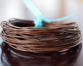 1mm Round Leather Cord Chocolate : 15 Feet Genuine Leather Cord