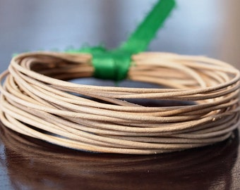 1mm Round Natural Leather Cord  : 15 Feet Genuine Leather Cord