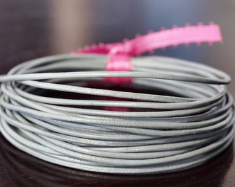 1.5mm Round Leather Cord Light Gray : 15 Feet Genuine Leather Cord Grey