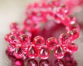 4x6mm Hot Pink Teardrop Czech Glass Bead : 50 pc