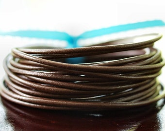 2mm Round Leather Cord Chocolate Brown : 15 Feet Genuine Leather