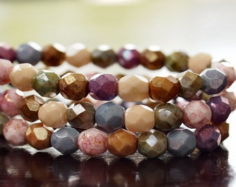 Opaque Luster Mix Czech Glass Bead 6mm Firepolish  Faceted Round Bead : 25 pc