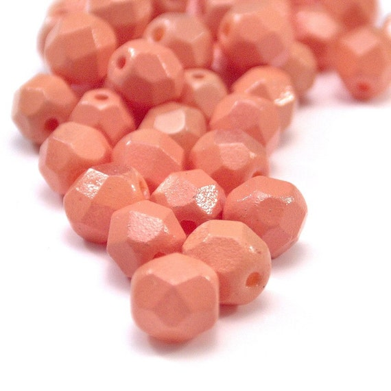 Tangerine Czech Glass Bead Faceted 6mm Rounds - LAST 25