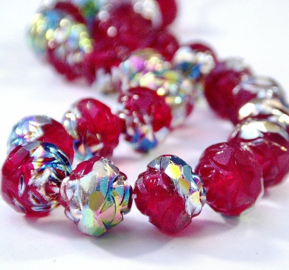 Siam Ruby Vitral Czech Glass Bead 8mm Rosebud : 12 pc Red Rosebud Flower Bead