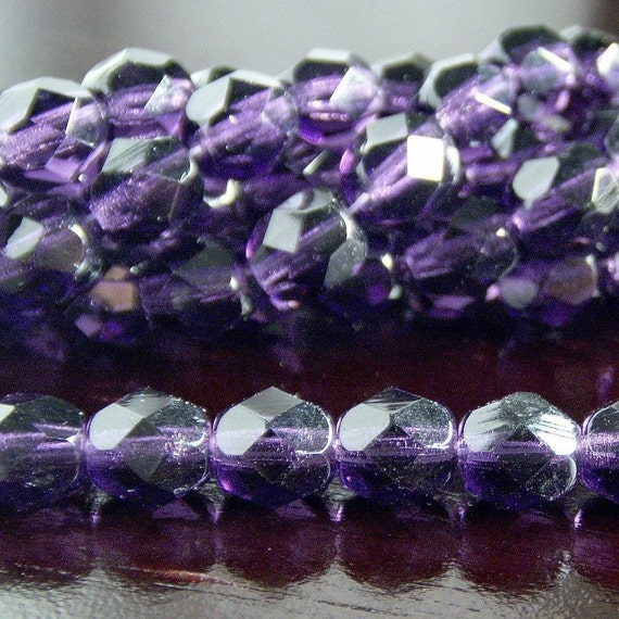Czech Glass Bead 6mm Tanzanite Faceted Round : LAST 25 pc