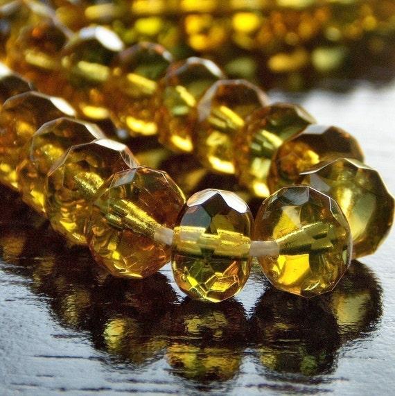 Czech Glass Bead 9x6mm Topaz Emerald Faceted Rondelle - 12