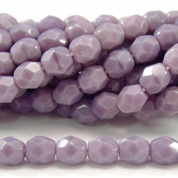 Czech Bead 4mm Glass Opaque Purple Faceted FP Round : 50 pc
