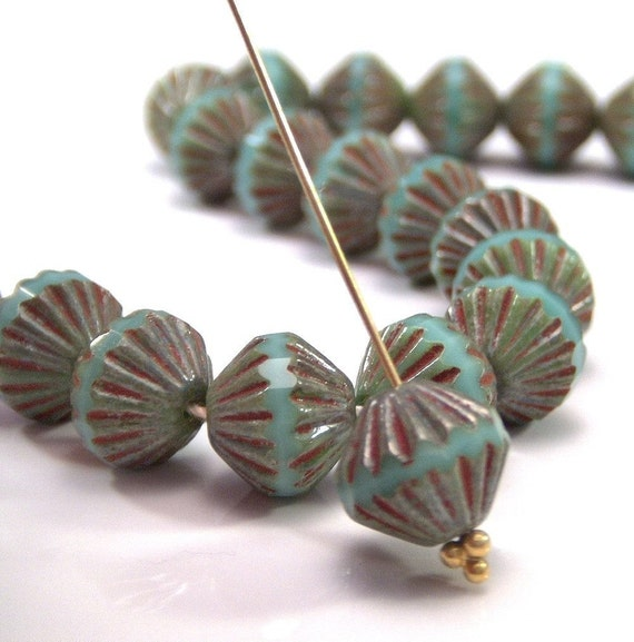 Czech Glass Bead Turquoise Picasso 9mm Fluted Bead : 12 pc