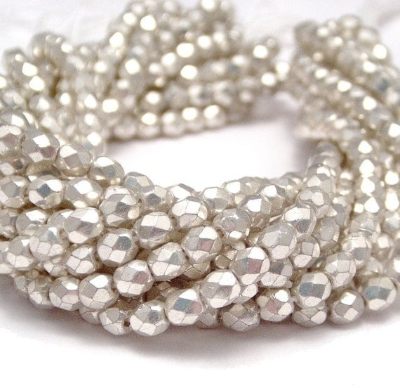 Silver Czech Bead 4mm Faceted  Round : LAST 50 pc 4mm Czech Glass  Beads