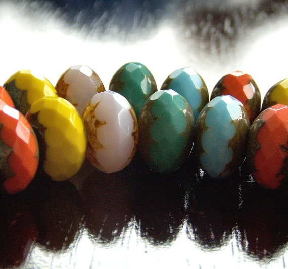 Picasso Mix Czech Glass Bead 9x14mm Puffy Faceted Rondelle :  LAST 10 pc