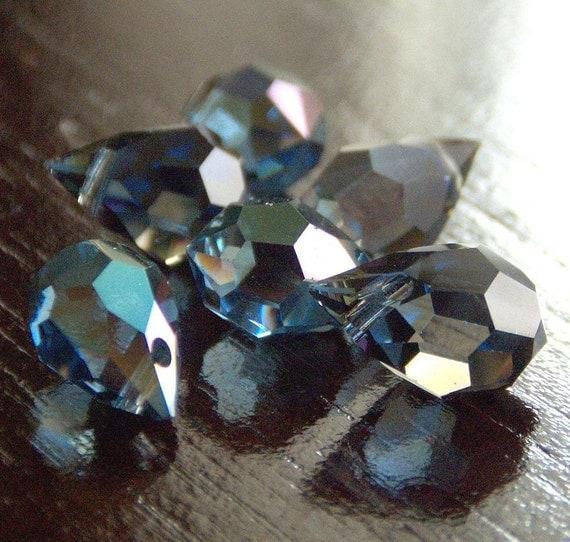 Czech Glass Sapphire Celsian 6x10mm Teardrop Briolette : LAST 4 pc