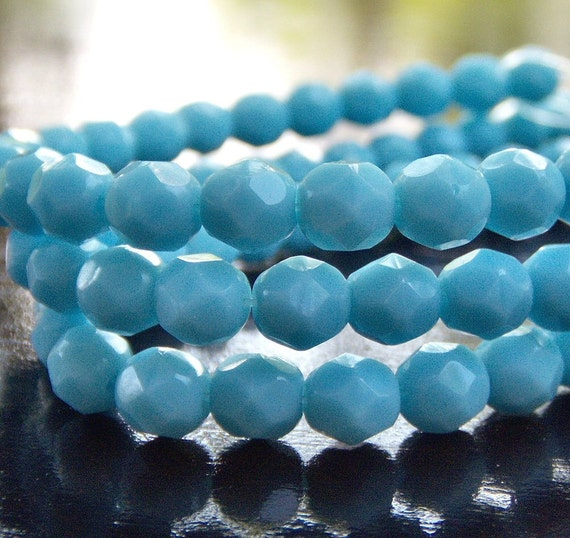 Turquoise Blue Czech Glass Bead 6mm Firepolish  Round  - LAST Full 7 inch Strand 30 pc