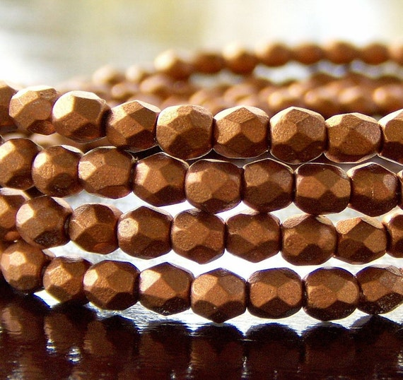 Czech FP Glass 3mm Faceted Copper Copper Round -  7 inch Strand