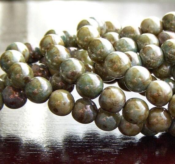 Green Luster Picasso Czech Glass Bead 6mm Round Druk -  LAST 50 pc