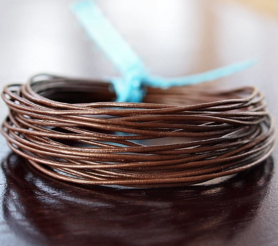 1mm Round Leather Cord Chocolate : 15 Feet