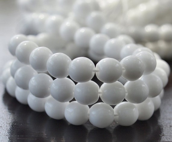 Opaque White Czech Glass Round 6mm Druk Bead : 50 pc