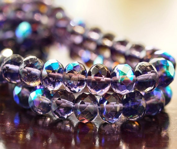 Tanzanite AB Czech Glass Bead 9x6mm Faceted Donut : 12 pc