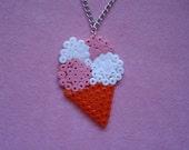Strawberry and Vanilla Ice Cream Hama Bead Necklace